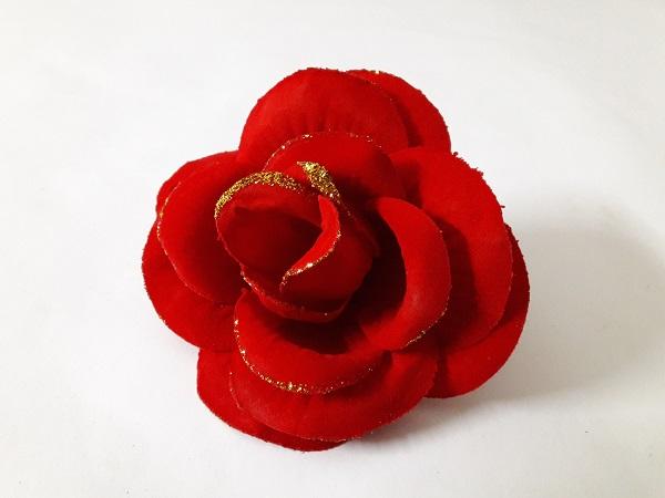 Роза бархатная с золотом d=15см Б/С  Г428