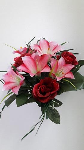 Композиция лилия+роза 12г.Н-35см Б/С  Б317