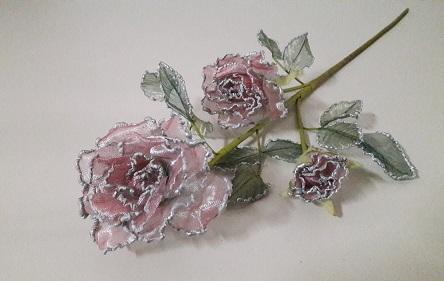 Ветка розы тройная Органза Н-72см.  Э2261