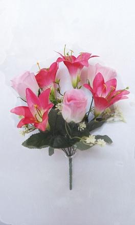 Букет роза+лилия «Льдинка» 7гол.Н-35см Б/С Б484