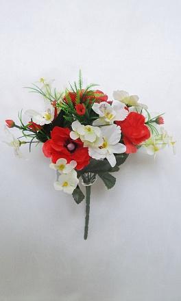 Композиция мак+орхидея 9г.+7вет.Н=30см Б/С   Б536