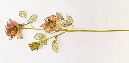 Ветка розы тройная Органза Н72см   Э2261