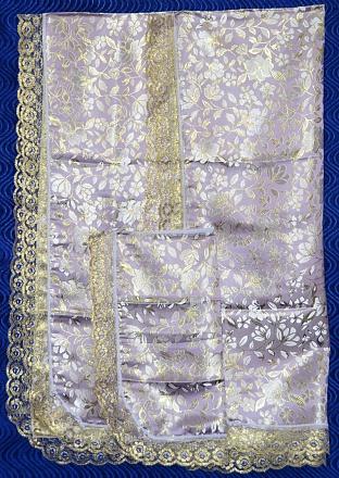 Комплект парча цветы (покрывало+наволочка). РК3900