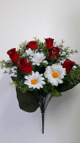 Букет роза барх.+ромашка 9г.+9г.Н=53см Б/С  АК438