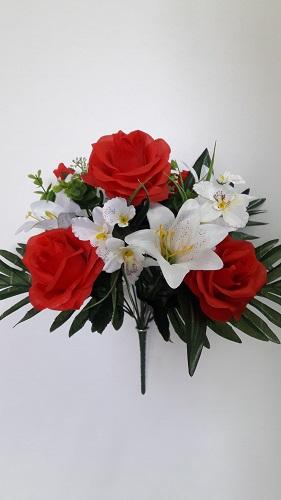 Композиция роза+лилия+орхидея 12г.Н-40см Б/С Б547