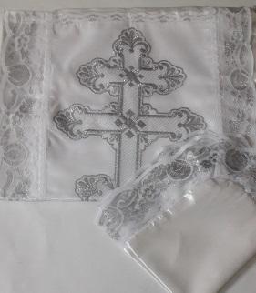 Комплект атлас/тюль с вышитым крестом. Р1471