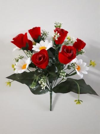 Букет розы бутон бархат с ромашкой 13гол. Н-38см Б/С   АК272